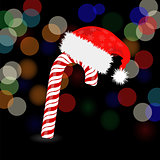 Candy Cane and Hat of Santa Claus
