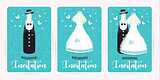 Turquoise wedding invitation card. Marriage. champagne bottle in a suit and a dress newlyweds, vector illustration