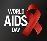 Isolated red ribbon with white text World AIDS Day on grey background, HIV Awareness vector logo, stop AIDS baner.