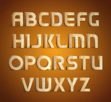 Isolated geometric wood texture font. 3d wooden material type alphabet symbols. Vector illustrations.