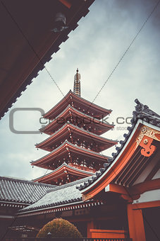 Pagoda in Senso-ji temple, Tokyo, Japan