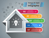 House abstract 3d icon. Business infographic.