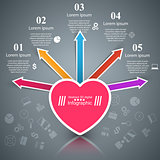 Abstract 3D digital illustration Infographic. Heart icon.