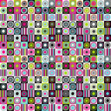 Colorful background with dots, circles and stripes