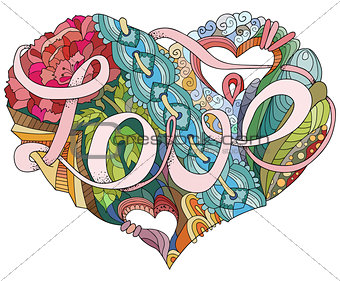 Sketchy Doodle Heart Illustration with word LOVE