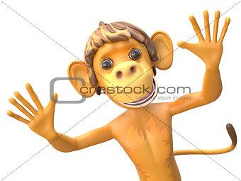 3D Illustration of a Jolly Monkey