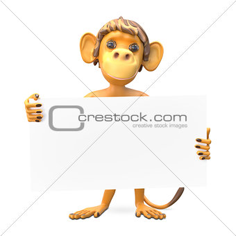 3D Illustration of a Monkey with a White Background