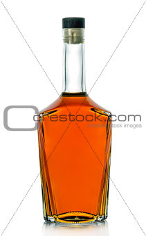 A bottle of brandy on a white background