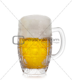 A glass of foam beer