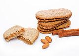 Healthy bio breakfast grain biscuits with almonds