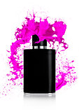 Black liquid perfume bottle with paint splashes