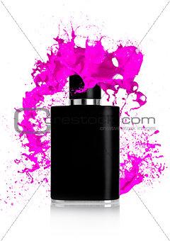 Black liquid perfume bottle with paint splashes