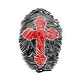 Fingerprint with a cross