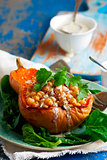 Butternut Squash with Chickpeas, Tahini and Za'atar.selective focus