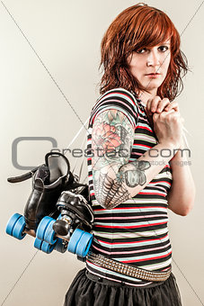 Beautiful roller derby woman