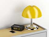 Nightstand with electric devices on it