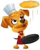 Yellow fun dog chef cook throws pancake