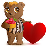 Brown bear holding basket of raspberries. Greeting card for valentines day