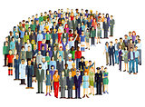 Groups of people statistics, crowd community, Illustration