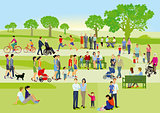 Families and people are relaxing in the park, illustration