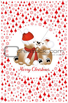 Cuddling teddy bears on Christmas