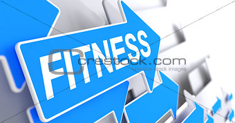 Fitness - Inscription on Blue Pointer. 3D.