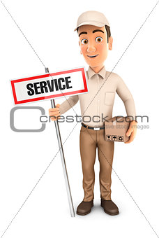 3d delivery man with service sign and package