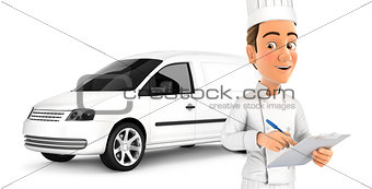 3d head chef with notepad in front of car