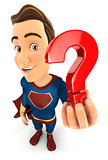 3d superhero holding a question mark icon
