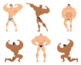 Six bodybuilders on white