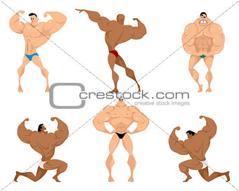 Six bodybuilders on white