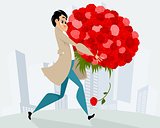 Man with huge bouquet