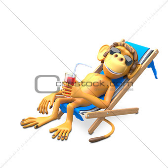 3D Illustration of a Monkey in a Deckchair