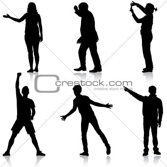 Black silhouettes of beautiful man and woman on white background. Vector illustration