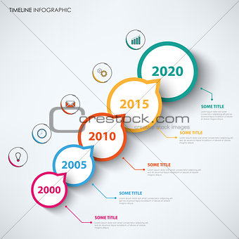 Time line info graphic with circular abstract design pointers