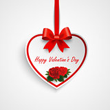 Valentine greeting card with heart and red ribbon roses