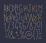 Alphabet straight lines font gold