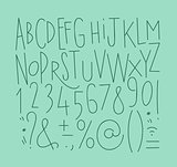 Alphabet straight lines font turquoise