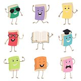 Cute Humanized Books Characters Representing Different Types Of Literature, Kids And School. Set of funny book characters, mascots, cartoon