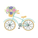 Bicycle with a basket full of flowers