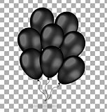 Realistic bunch of black balloons. 3d balloons for black Friday. Isolated on white background. Vector illustration.