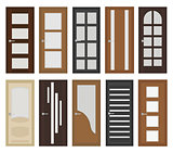 Interior doors set, flat style. Door with different types of glass. Isolated on white background. Vector illustration.