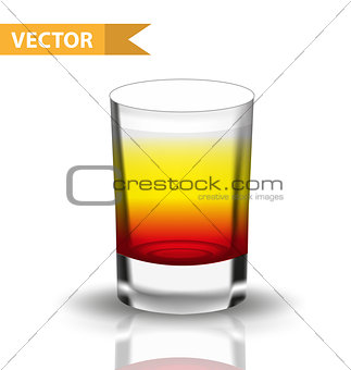 Realistic shots cocktails. 3d Shot with drinks for bars, restaurans collection. Glass cup liqueur. Isolated on white background. Vector illustration.