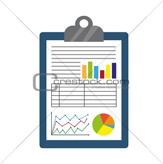 Business report icon, flat style. Financial graphs. Isolated on white background. Vector illustration.