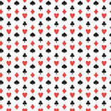 Playing cards suits seamless pattern. diamonds, clubs, hearts, spades repeating texture. Poker endless background. Vector illustration.