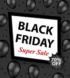Black Friday promotional flyer, poster, invitation, banner. Template for your design. Special offer, discounts Vector illustration.