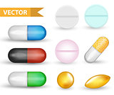 Realistic Medical pill capsule set. 3d drugs and tablets collection. Medicines Antibiotics, vinamines, fish oils. Isolated on white background. Vector illustration.