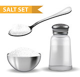 Realistic 3d set with salt shaker, spoon of salt, steel bowl. Isolated on white background. Glass jar for spices. Ingredients for cooking concept. Vector illustration.