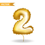 Golden yellow balloon number 2. Isolated on white background. Vector illustration.