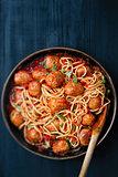 rustic meatball spaghetti in tomato sauce